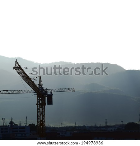 Mountain view with crane  - stock photo