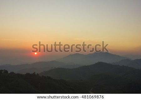 Mountain view with morning sunshine