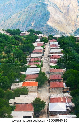 Mountain village Halidzor view from altitude in Armenia.