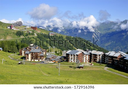 Mountain village of La Plagne in the French Alps, commune in the Tarentaise Valley, Savoie department and Rhone Alpes region, in France - stock photo