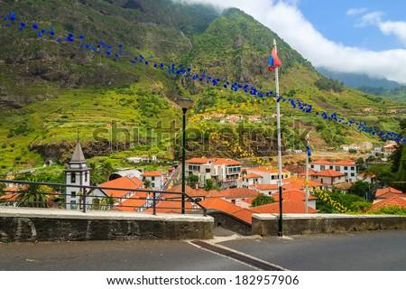 Mountain village Sao Vicente in green valley, Madeira island, Portugal - stock photo