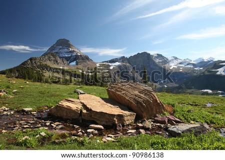 Mountain Vistas, Glacier National Park - stock photo