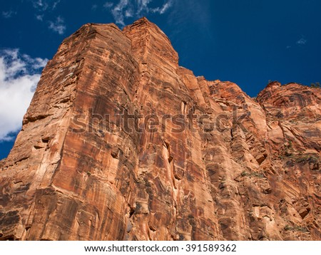 Mountain Walls In Zion National Park  - stock photo