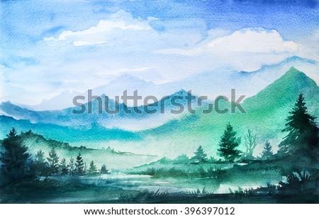 Mountain watercolor landscape. - stock photo