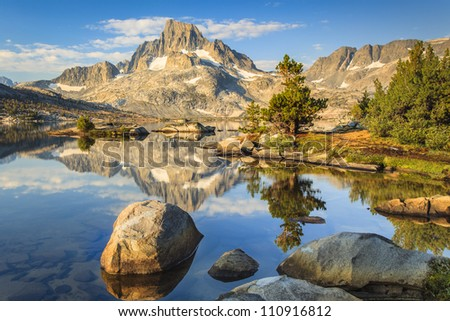 Mountain with rocks and lakes - stock photo