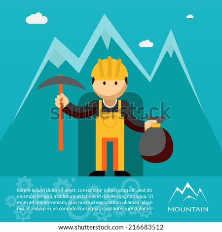 Mountain worker  miner or prospector emerging from a mine shaft or tunnel with a pick and sack of gold wearing a hardhat and overalls  illustration - stock photo