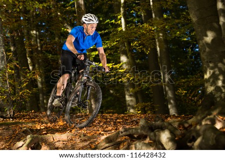 Mountainbiker in the forest - stock photo