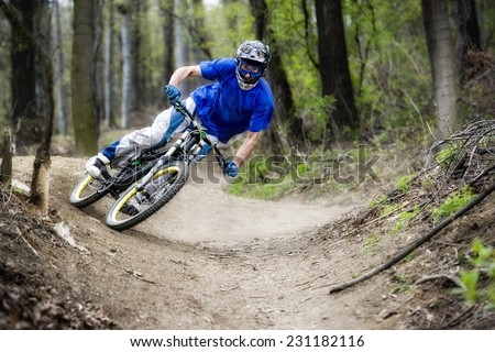 Mountainbiker rides on path in forest - stock photo