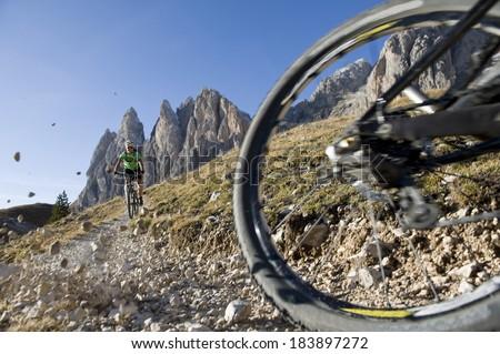 Mountainbiking - downhill - biker background - stock photo