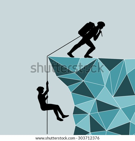 Mountaineer draws more on the mountain. Help. Salvation. Rescuer.  illustration scale of any size. All elements are grouped. - stock photo