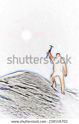 Mountaineer reaches the top of a mountain peak and expresses his joy. Stylized silhouette with fantasy-painting effect. - stock photo