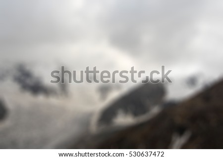 Mountaineering tourism theme creative abstract blur background with bokeh effect