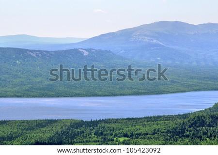 Mountainous lake Zyuratkul in Russia - stock photo