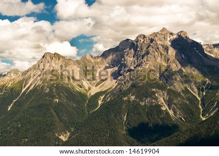 Mountains above Scuol, Engadin, Switzerland.
