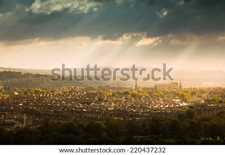 Mountains and City of Edinburgh - stock photo