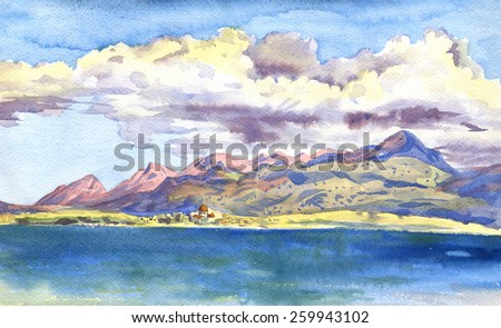 Mountains and clouds. City by the sea. The paintings. Watercolor - stock photo