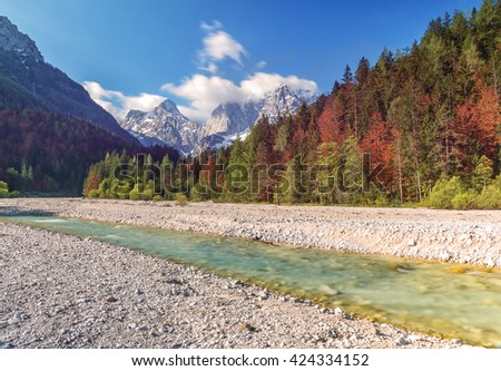 Mountains and forest by the river