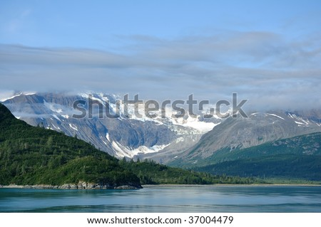 Mountains and Glacier with Low Clouds, Glacier Bay National Park, Alaska