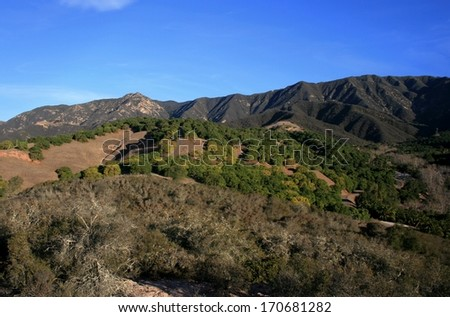 Mountains and grassy hills, California - stock photo