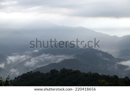 Mountains and hillocks in Pokhara valley - stock photo