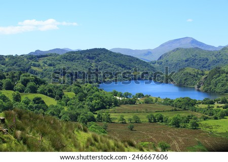 Mountains and lake landscape, Snowdonia, Wales - stock photo
