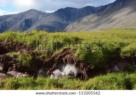 Mountains and permafrost - stock photo