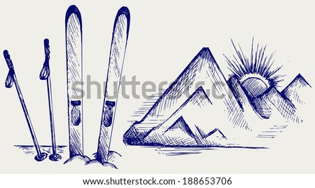 Mountains and ski equipments. Doodle style. Raster version - stock photo