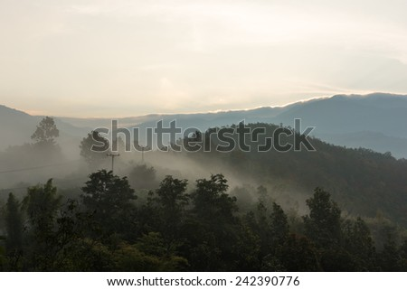 mountains and sunrise - stock photo