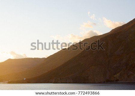 Mountains at sunset on the southern coast of Crete, Greece, near to Chora Sfakion