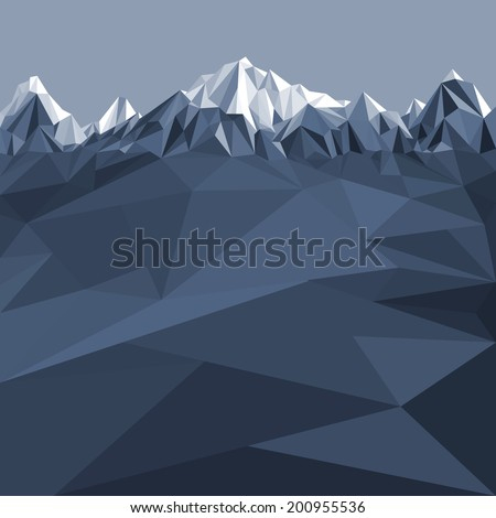 Mountains background in glacier (illustration of a many triangles) - stock photo