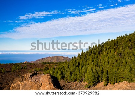Mountains beautiful inspirational landscape, islands and ocean, Canary Islands La Palma view from Tenerife island.