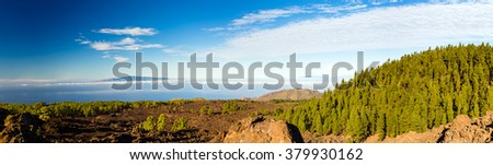 Mountains beautiful inspirational landscape panorama view, islands and ocean, Canary Islands La Palma and La Gomera islands view from Tenerife island. - stock photo