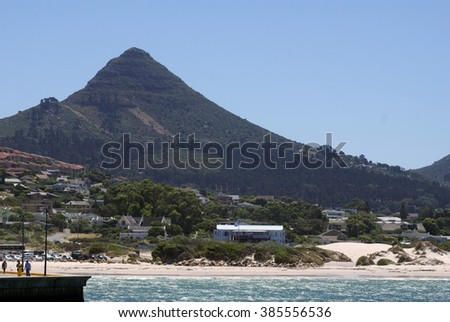 Mountains behind False Bay, Cape Town, South Africa - stock photo