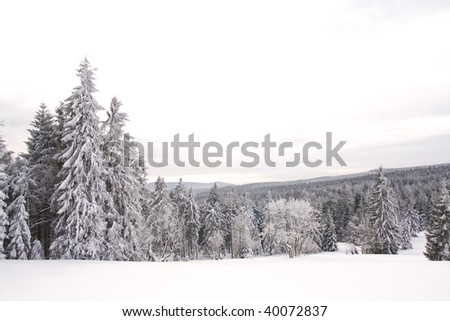 mountains covered with fresh powder snow