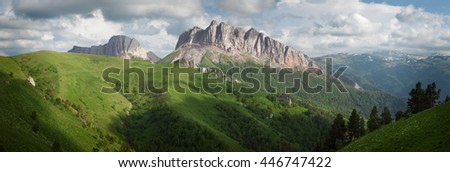 Mountains (Eastern and Western Acheshbok) under a blue sky with clouds. Caucasus, Russia  - stock photo