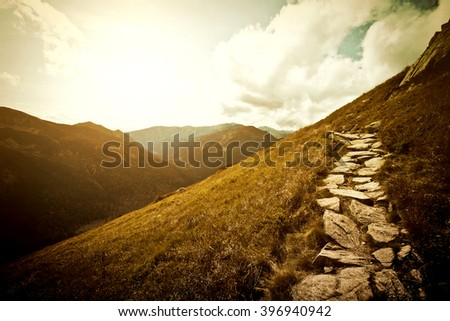 Mountains. Fantasy abstract nature landscape. Nature conceptual image. - stock photo