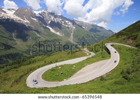 Mountains in Austria. Hohe Tauern National Park, Glocknergruppe range of mountains. Hochalpenstrasse - famous mountain road. - stock photo