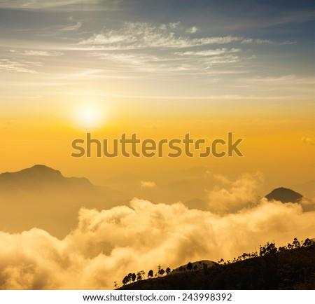 Mountains in clouds. Kodaikanal, Tamil Nadu - stock photo