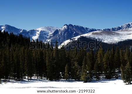 Mountains in Colorado in Winter - stock photo