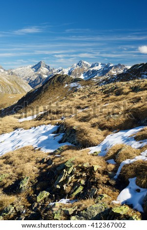 Mountains in Ossau Valley, Pyrenees National Park, Pyrenees, France. - stock photo