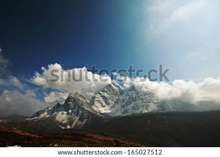mountains in Sagarmatha region,Himalaya - stock photo
