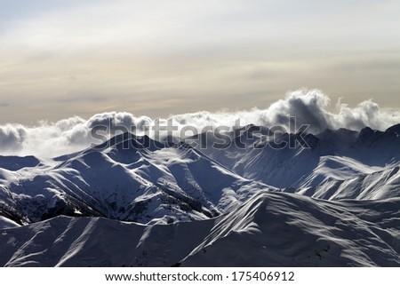 Mountains in sunset. Caucasus Mountains, Georgia, ski resort Gudauri.  - stock photo