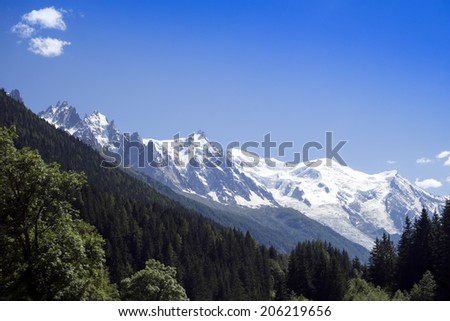 Mountains in the Alps: the Mont Blanc with the Glacier des Bosson, Chamonix, France.  - stock photo