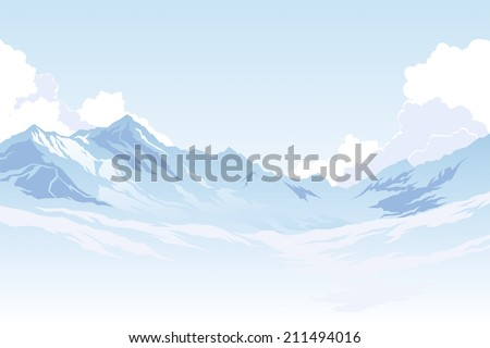 Mountains in the background of the sky with clouds