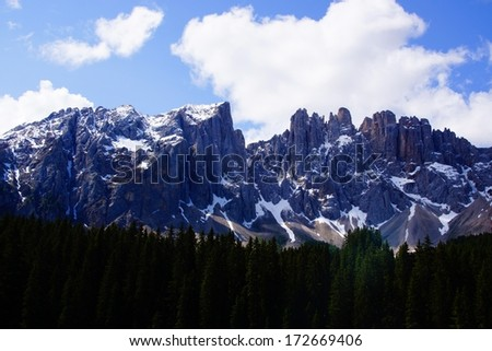 Mountains in the dolomite alps in italy
