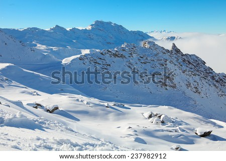 Mountains in Val Thorens, trois vallees complex, France - stock photo