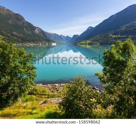 mountains lake - stock photo