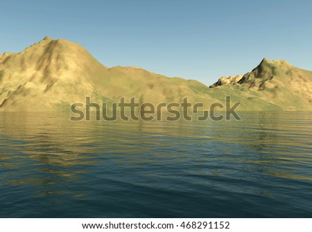 Mountains landscape and sea 3D illustration, sandhills and water