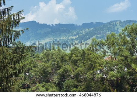 Mountains landscape from Bucovina, Romania. Mountain landscape panorama. Carpathian mountains landscape. Summer landscape in the mountains.