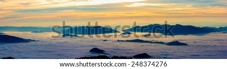 Mountains landscape from mountains,mist mountain panorama as a tourist destination in Thailand. - stock photo